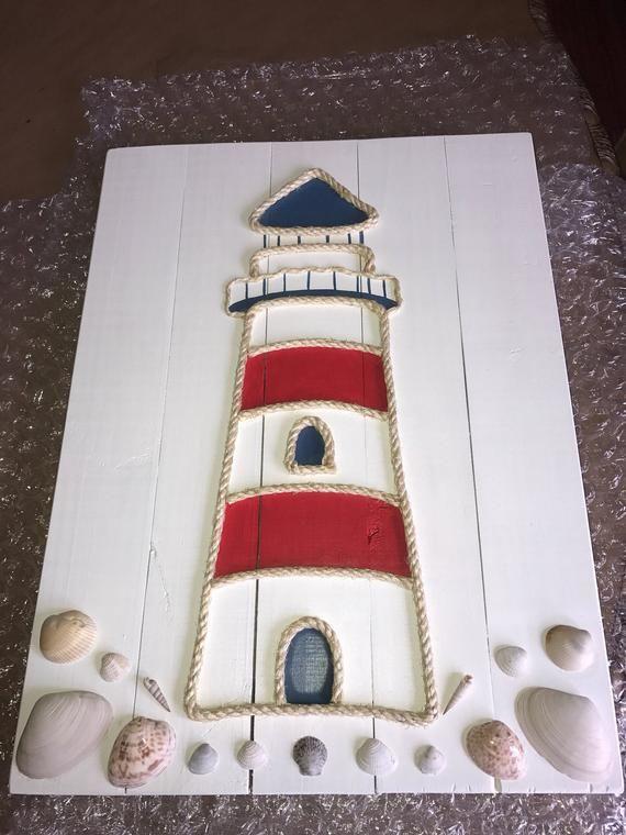 Handmade Lighthouse with Rope Seaside Pallet Artwork Lighthouse Artwork Pallet Artwork Rope Artwork Coastal Decor Nautical Decor Nautical Artwork Nautical Indicators