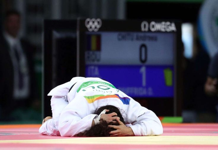 Olympic sadness: Agony of defeat in Rio:   Andreea Chitu (Romania) reacts after a loss to Odette Giuffrida (Italy) during the women's judo 52kg quarterfinals.