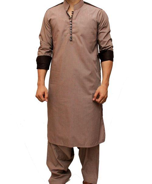Button Style Choco Shoulder Brown Kurta Shalwar in Pakistan