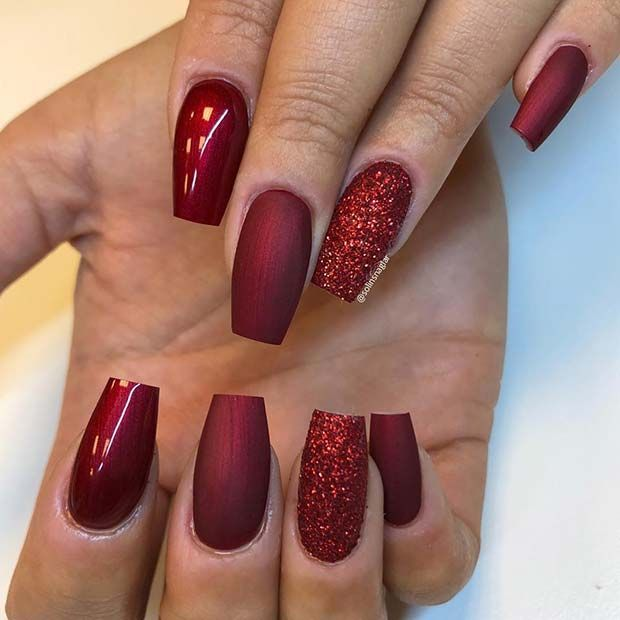 71 christmas nail art designs ideas for 2019 in 2020 red nails glitter red christmas nails red acrylic nails 71 christmas nail art designs ideas