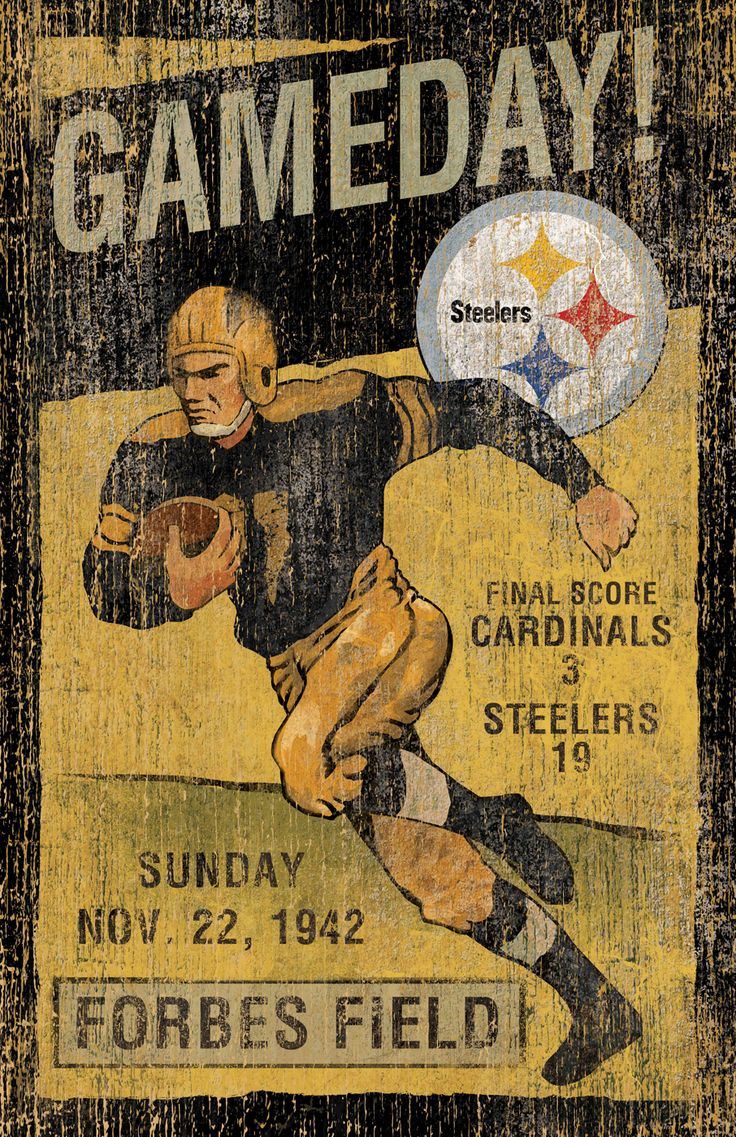 Appreciate the rich history of your favorite franchise with the Pittsburgh Steelers Vintage Wall Art. A perfect decor item for the game room or office!