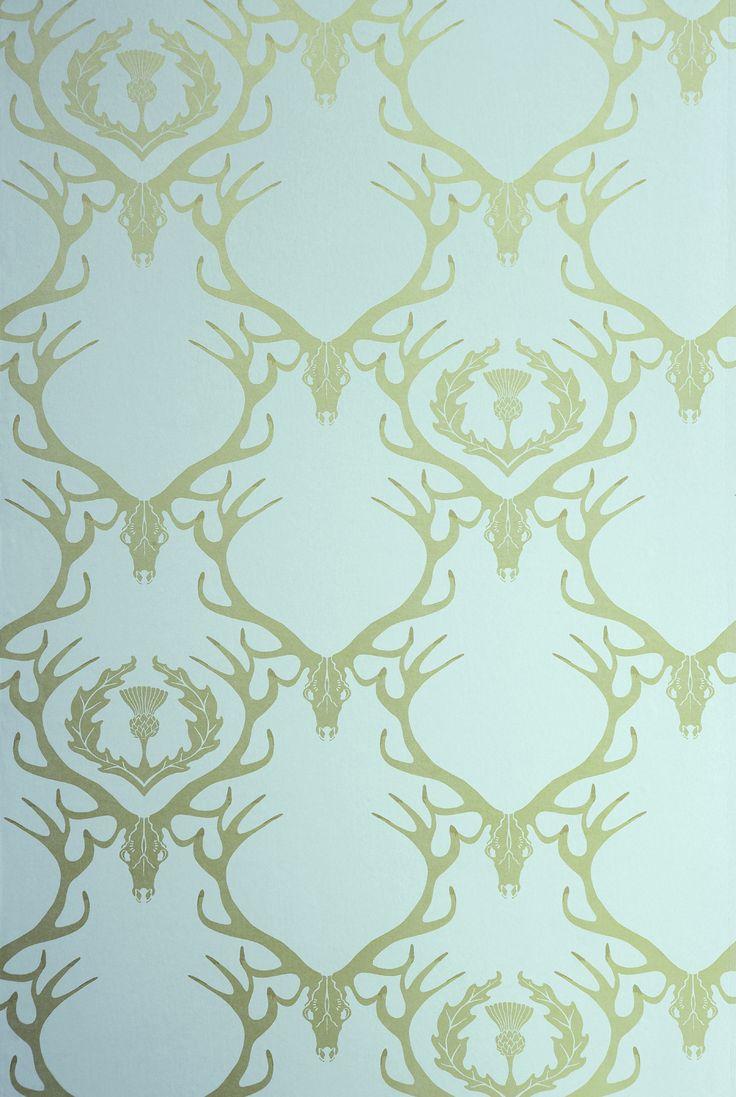 Deer Damask Wallpaper - Duck Egg Blue & Antique Gold