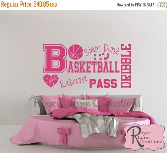 Sale Basketball Word Art Wall Decal B31 By RoyceLaneCreations