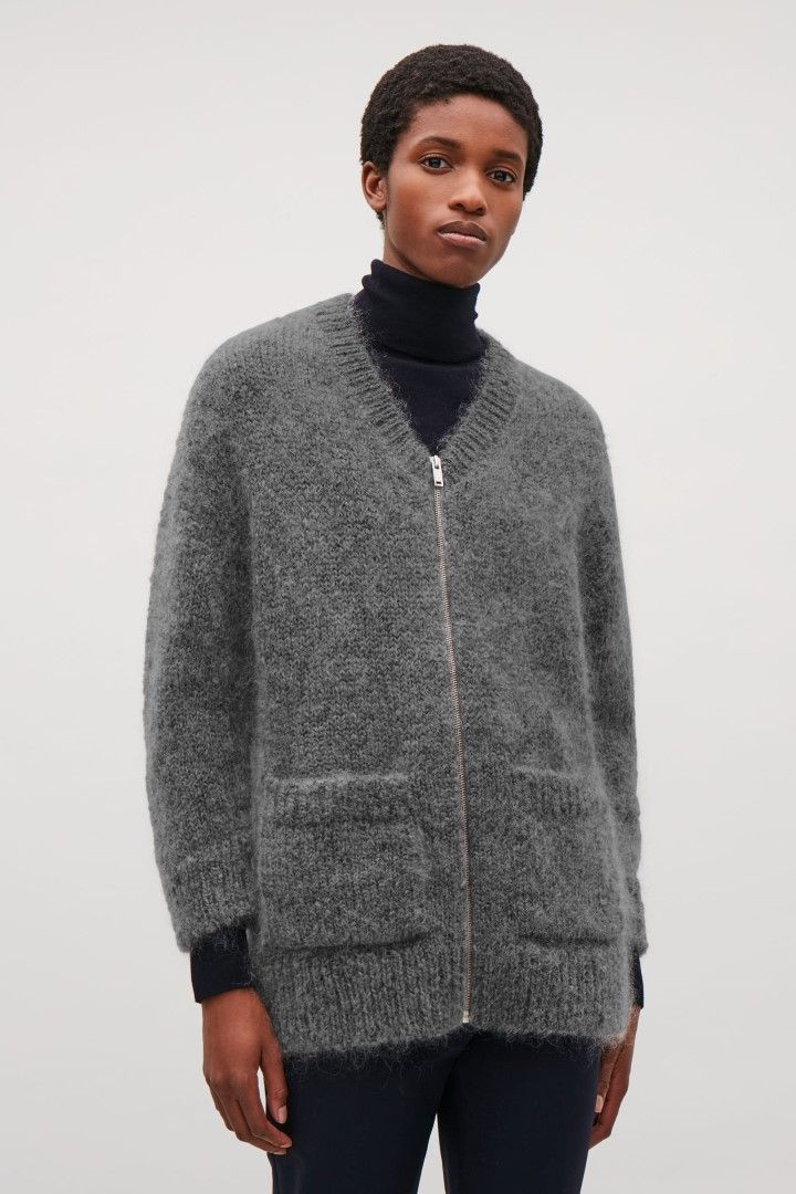 COS image 1 of Chunky mohair cardigan in Grey