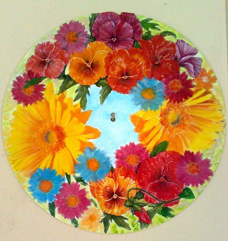 spring wreath. Decoupage on vinyl disc