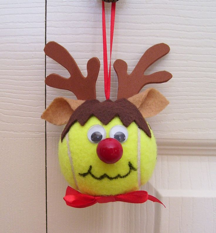 Christmas Reindeer Ornament Tennis Ball (Boy) by roseartworks on Etsy