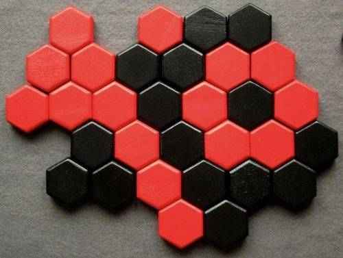 Six: Make a ring, line, or triangle of six hexes to win.