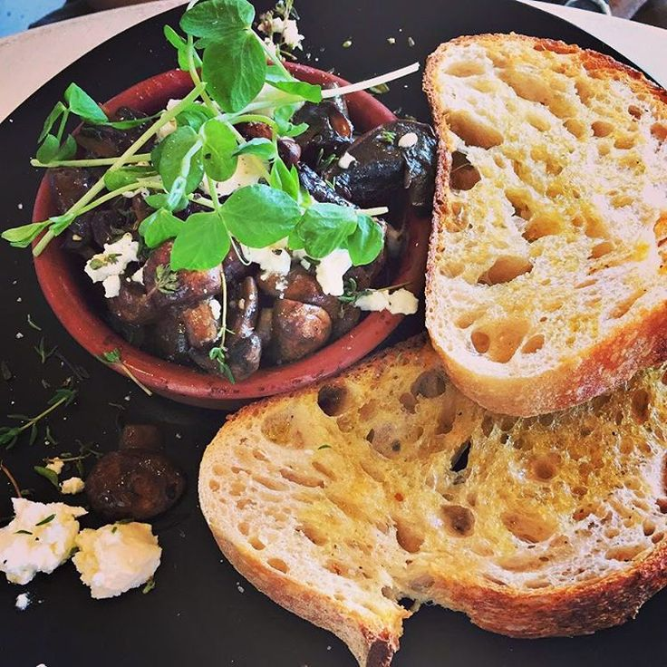 #Mushrooms with feta and #sourdough from Abundance on the Quay ~ article and photo for think-tasmania.com ~ #Bellerive #Hobart #Tasmania #ediTAS #foodie