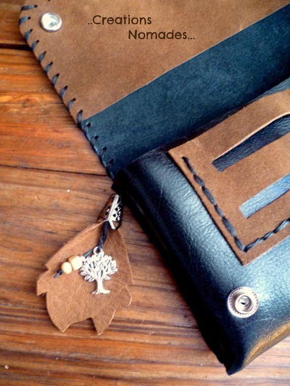 Blague à tabac cuir artisanale brun et noir avec déco arbre