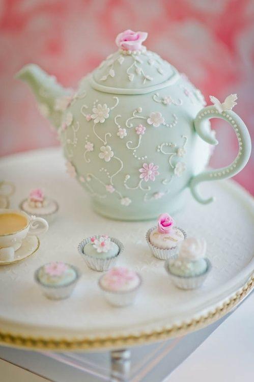 Tea Pot Cake/ Shower Cake/ Luncheon Cake/ pretty flowers on a mint tea pot.  what a fun and pretty cake!