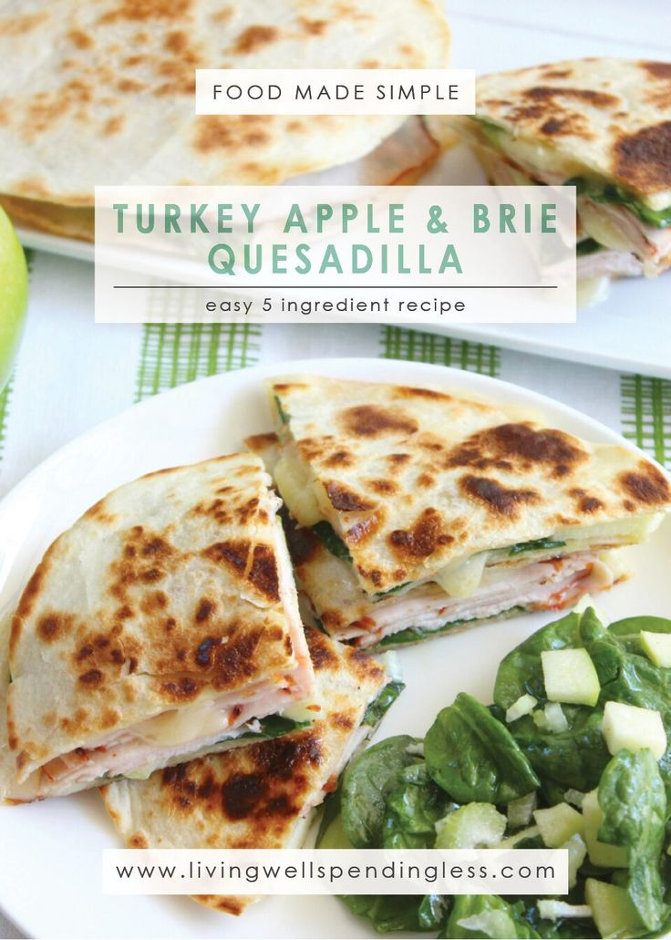 Turkey Apple Brie Quesadilla | Turkey Quesadillas Recipe | Easy Quesadillas Recipe | Brie Quesadilla Recipe   via @lwsl