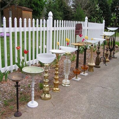 Old lamps and bowls become bird baths