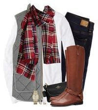 """Gray J.crew vest & red plaid scarf"" by steffiestaffie liked on Polyvore featuring American Eagle Outfitters, J.Crew, Coach, Tory Burch and Michael Kors"