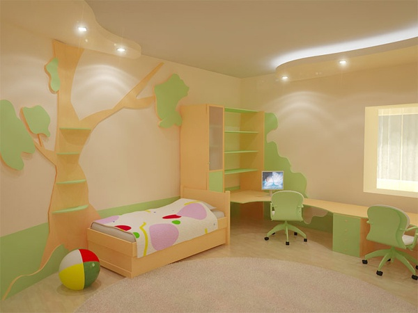 Cool Study Desk Design Ideas in Kids Bedrooms with Green Wallpaper
