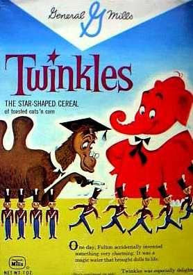 Twinkles cereal, c.1962.  I believe the characters on the cereal box were from a TV cartoon popular at the time.