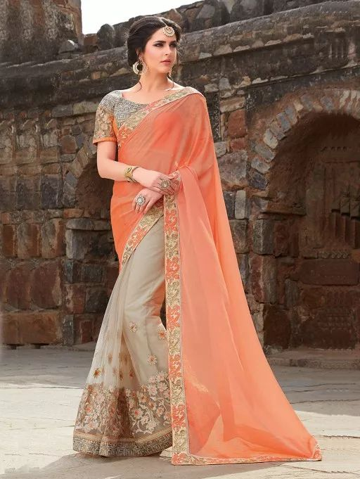 Light Orange and Cream Georgette Saree with Embroidery Work