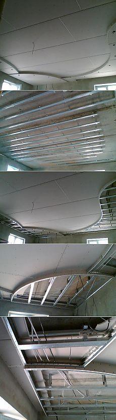 Потолок из гипсокартона своими руками. Монтаж многоуровневого криволинейного потолка
