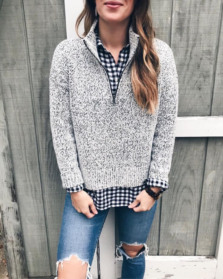 fuzzy grey marled quarter zip with gingham button down and ripped jeans cute fall date night fashion