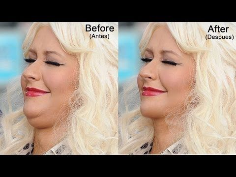 Como quitar una papada/doble menton usando Photoshop CS6 (Mac) Christina Aguilera - YouTube