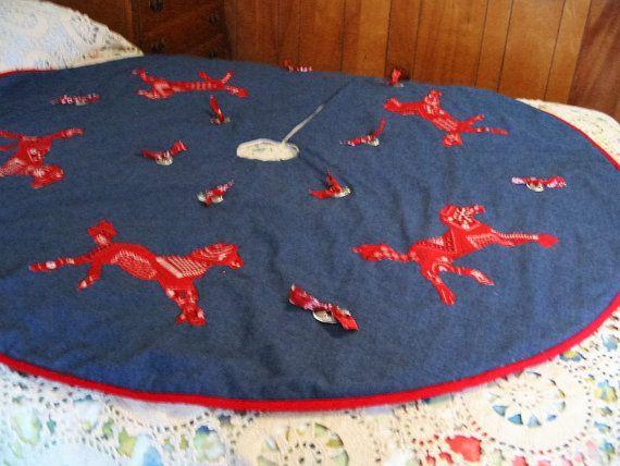 TEXAS SOUTHWESTERN Christmas Tree Skirt  Dark Blue by ThingsUnique