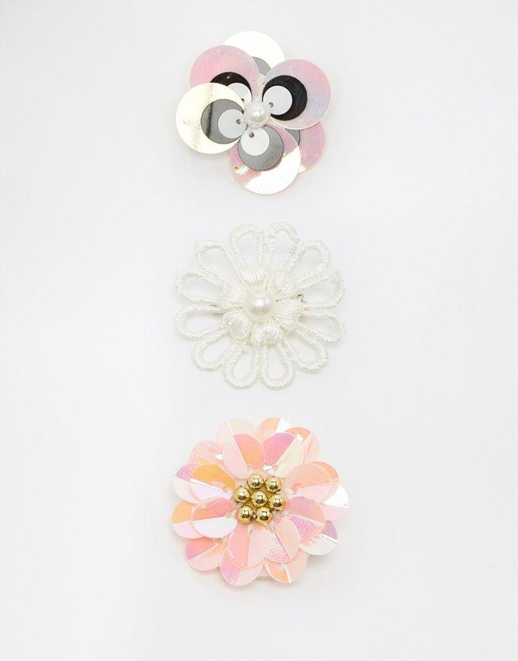 Image 1 ofASOS Sequin Flower Brooch Pack