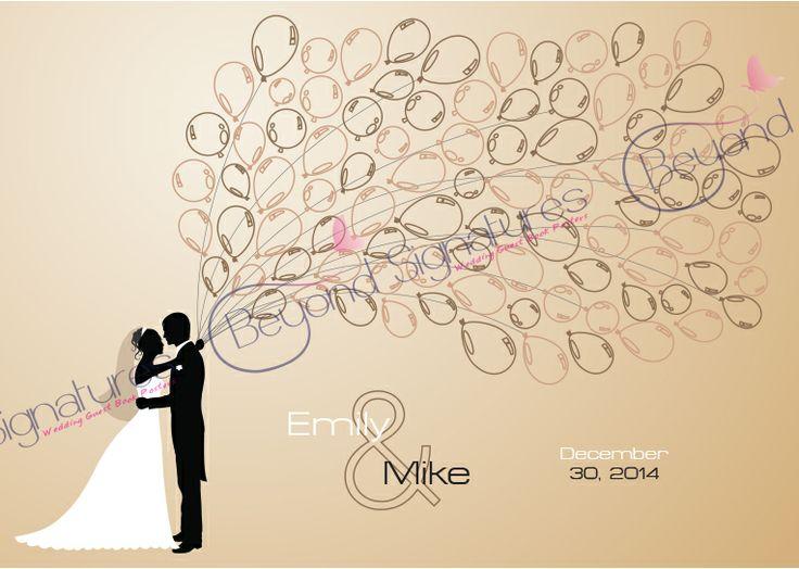 Earthy balloon wedding guest book poster