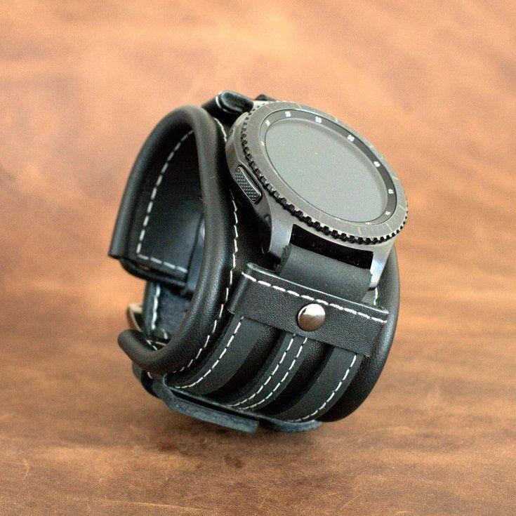 Black Leather Cuff For Samsung Gear S3 Frontier Samsung Or Galaxy 46mm Or 42mm With Black Rivets Dg4 Kozhanyj Remeshok Dlya Chasov Kozhanye Chasy Smart Chasy