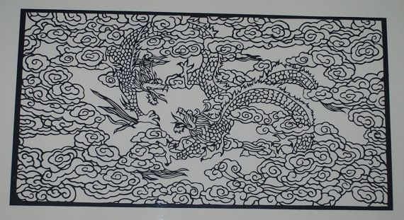 Paper Cut, DIY kit, Hand made paper cut, Dragons, Table Runner, Home deco, Framed picture