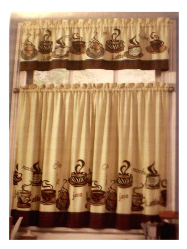 Coffee Themed Kitchen Curtains Tiers Valance Set Complete curtains set with coffee cups and words. $23.95