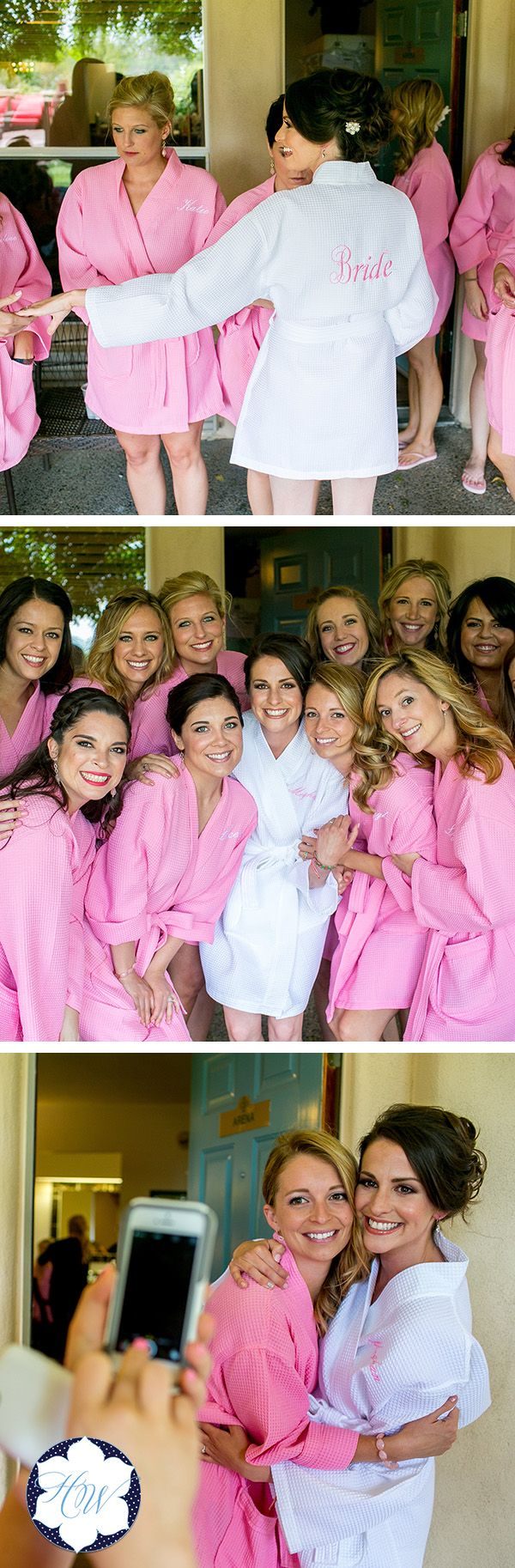 "This Personalized Waffle Weave Robe is perfect for your entire bridal party! Y'all will love the adorable ""getting ready"" pictures these robes provide. You can personalize these with titles on the back and initials on the front. You can also do just initials or just titles."