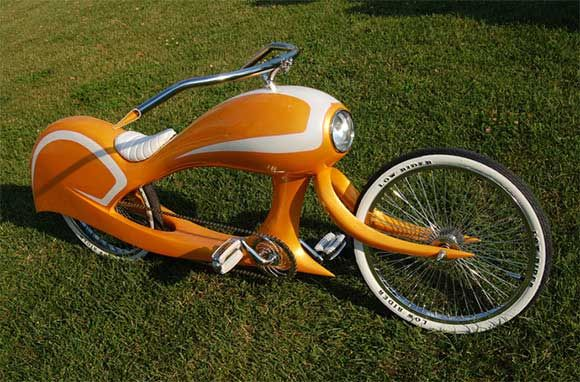 The orange Tequila Sunrise and green Eye Candy bicycles were handmade by Jason Batters design. It is made of fiberglass, white stripes on orange types and red tinge on the green ones. The design is similar to motorcycle so as the paint work, great one for motorcycle fans to exercise in the morning.