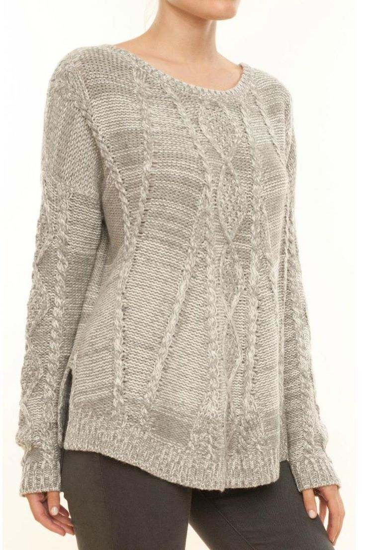 Heather grey fireplace swing sweater in a classic cable look. Oversized silhouette. Wide, round neckline. Long sleeves. Ribbed trim at hem and cuffs. Side seam slit. Cozy and soft.       Fireplace Swing Sweater by Splendid. Clothing - Sweaters - Crew & Scoop Neck Cape Cod, Massachusetts