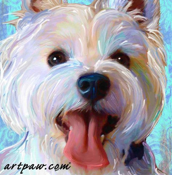 West Highland Terrier Print Westie on Canvas van artpaw op Etsy