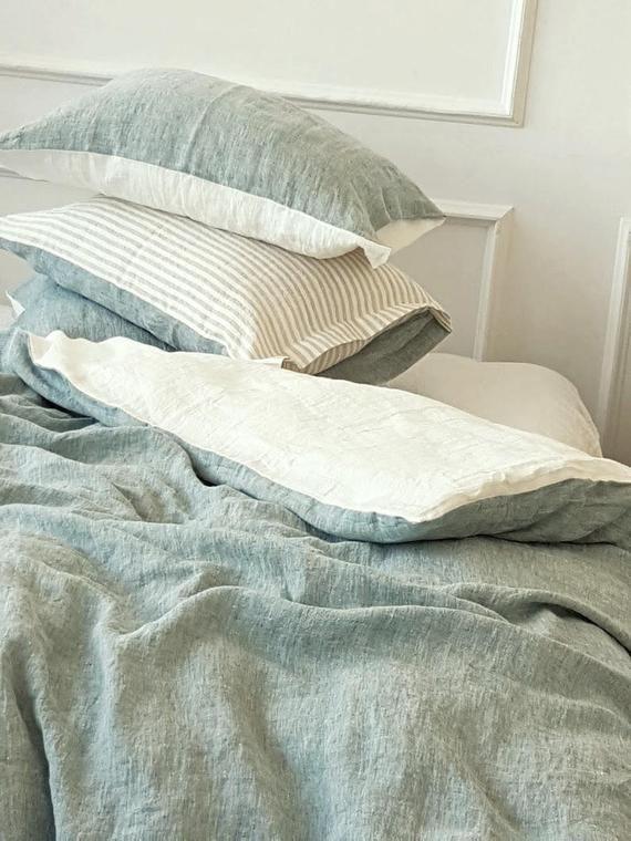 Reversible Linen Duvet Cover In Bluish Green Off White Or Etsy Linen Duvet Linen Duvet Covers Grey Linen Bedding