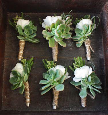 white floral + succulent boutonnieres