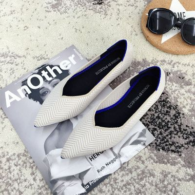 Stripes knitted soft bottom moccasins femme microfiber handsewn zapatos ladies shoes pointed toe women cozy travel flats shoes