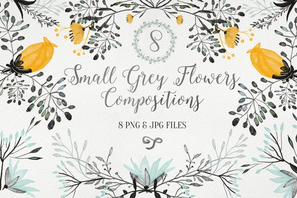 Check out Small Grey Flowers by Webvilla on Creative Market