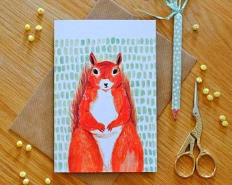 Illustrated Red Squirrel Card by Stephanie Cole Design ©2018