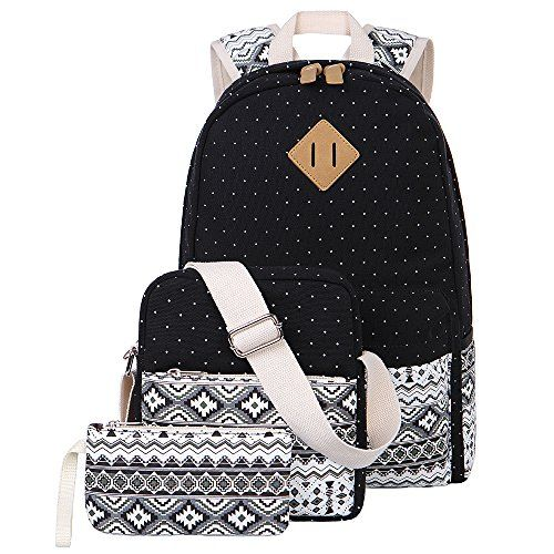 Girls Bookbags Canvas Dot Backpack Set for Teens Girls Schoolbags 3 in 1 *** Click image for more details.