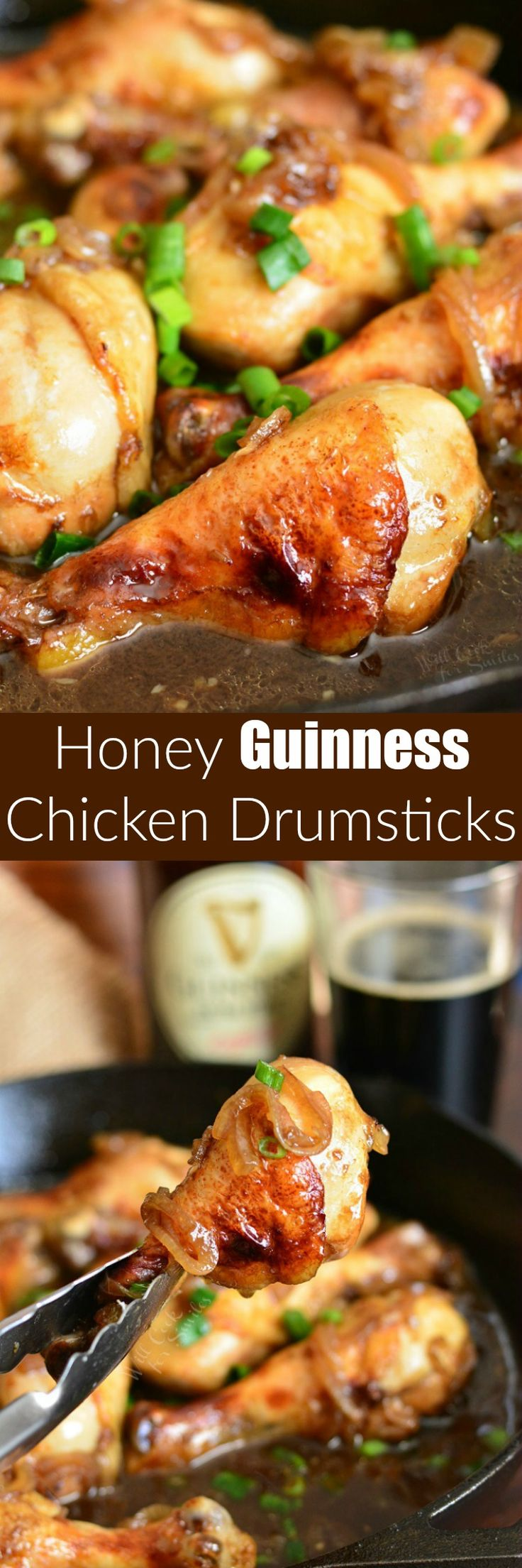 Honey Guinness Chicken Drumsticks. These Honey Guinness Chicken Drumsticks are first marinated in Honey Guinness sauce, seared, and then baked in the same delicious sauce. #chicken #guinness #chickendrumsticks #guinnessrecipe