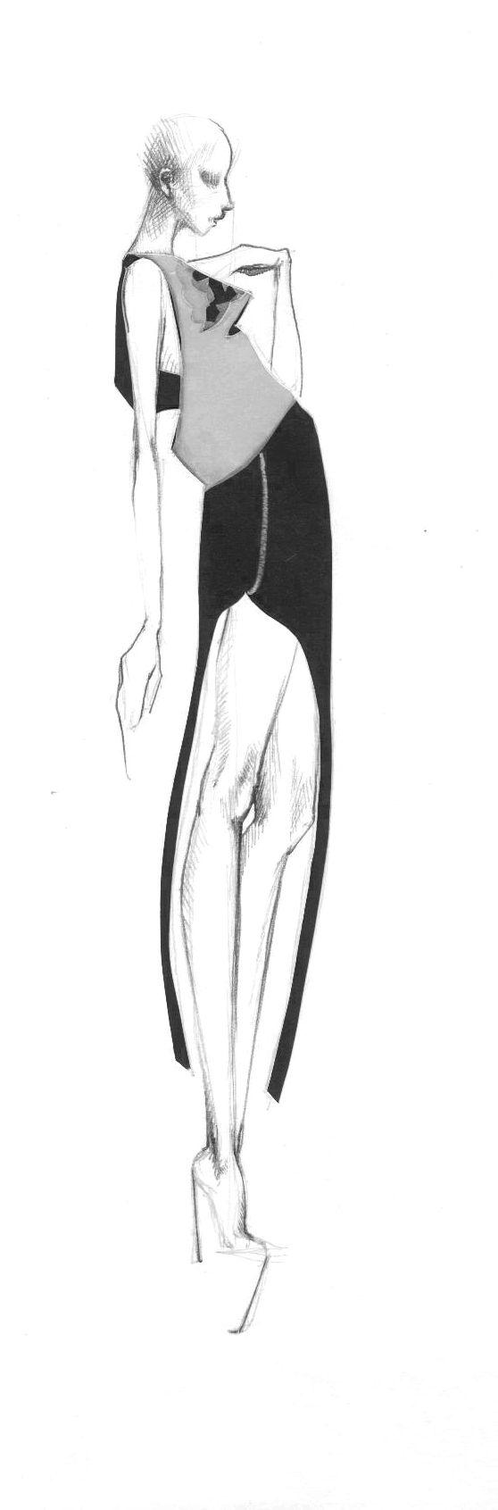 Okolo Své Osy - Módní Ilustrace Módní ilustrace anebFashion Illustration Ilustrace je součástí módníkolekce Okolo své osyaneb 'What goes around, comes around...' Originál Velikost: A4 Materiál: Tvrdý bílý papír, kopírovací papír, černý papír Styl: vrstvení, vařezávání, kresba tužkou