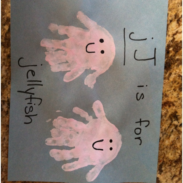 letter j J- is for jellyfish - double handprint stamped for each one. Alphabet handprint craft