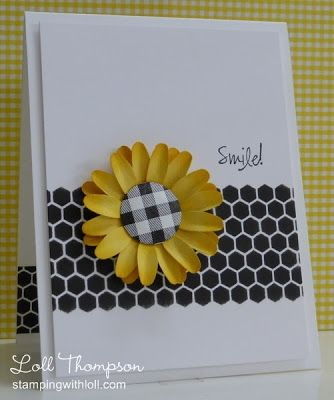 handmade card from Stamping with Loll ... black and white with a pop of yellow ... clean and simple ... perky yellow sunflower with a black ginghame center  on a black and white hexagon patterned paper ... stunning ... luv it!