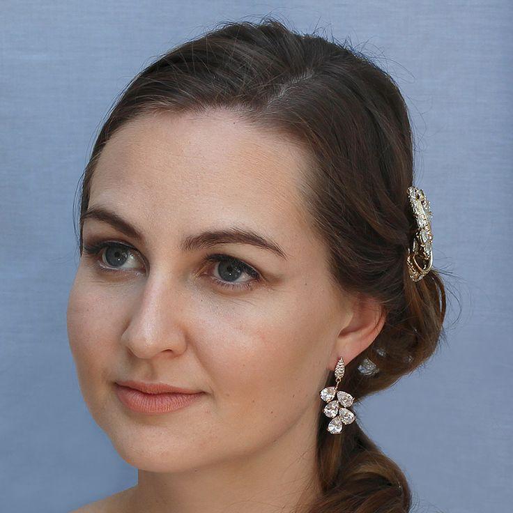 Rose gold plated cubic zirconia drop earrings - Vitalia