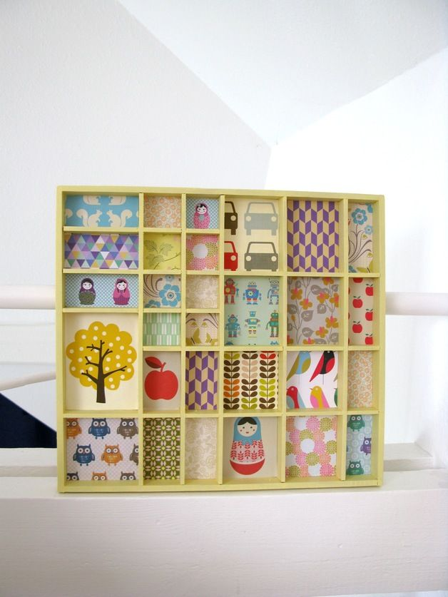 Setzkasten restauriert mit bunter Tapete // Wooden case with colorful paper by tinkelchen via DaWanda.com