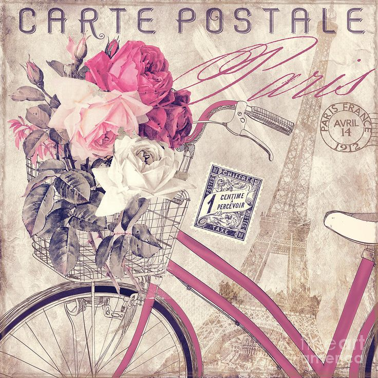 Paris Painting - Carte Postale Bicycle by Mindy Sommers