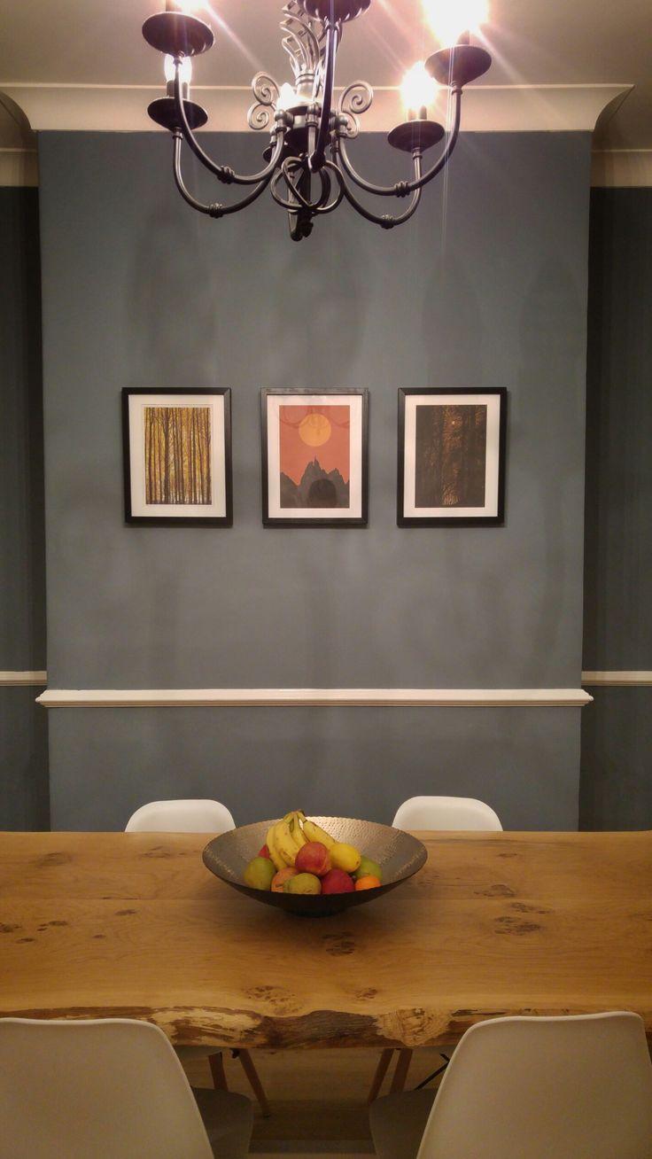 Denim Drift - Dulux colour of the year 2017 on the walls.  Wany edge oak table designed by Matt Barr built by Finbarr Lucas in Sheffield, UK.