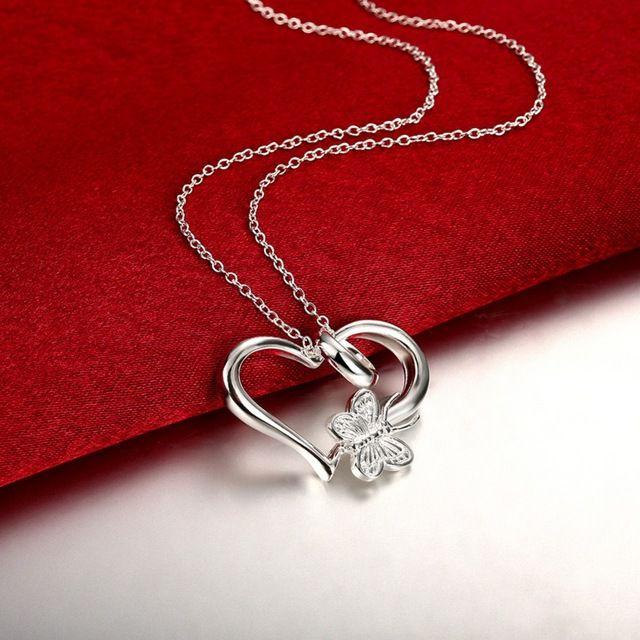 Corazón de la mariposa colgantes de plata estampado 925 oro collares colar 20 ''cadenas de serpiente Para El Regalo del Día de San Valentín