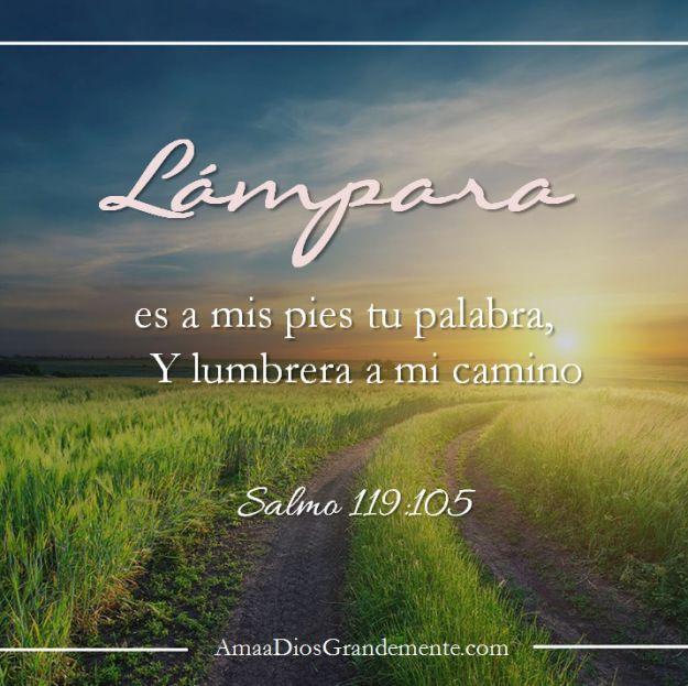 Salmos 119:105 Lámpara es a mis pies tu palabra, Y lumbrera a mi camino.♔