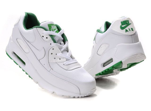 Discount Nike Air Max 90 Women Running Shoes White Victory Green